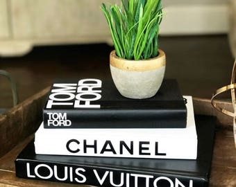 3 LARGE BOOKS - Black & White - Designer Book Set, Chanel, Louis Vuitton, Tom Ford, Decorative Coffee Table Designer Books Coco Chanel Book