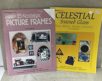 2 Used Stained Glass Pattern Books 25 Picture Frame Patterns and Celestial Stained Glass Patterns Full Sized Patterns Color Pictures