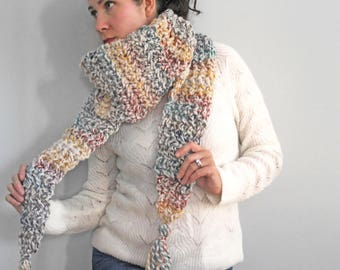 Tassel Scarf, Chunky Fringe Scarf Cowl, Knitted Winter Scarves, Long Chunky Scarf, Long Knit Scarf
