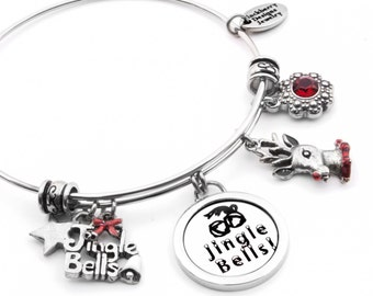 Reindeer Bangle Bracelet with Jingle Bell Charms and Ruby Crystals