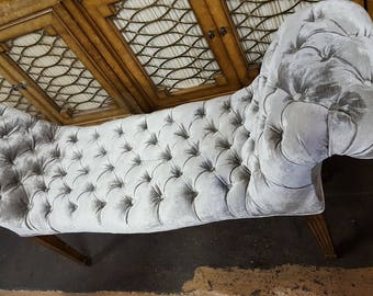Hollywood Regency Style Bench Tufted with Gray Velvet