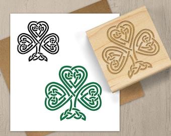 Celtic Shamrock Stamp, Clover Stamp, St Patrick's Day Stamp, Irish Stamp, Celtic Rubber Stamp, Celtic Knot Stamp, Lucky Stamp 128