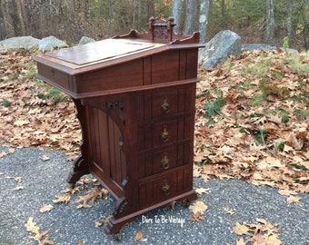 Victorian Antique Walnut Davenport Writing Desk - Antique Eastlake Davenport Desk - Antique Desk - Victorian Captain's Desk