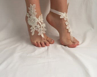 Ivory Barefoot Sandals, Bridal ivory sandals, bridal lace barefoot, wedding ivory sandals, Beach Wedding, Party, Bridesmaid shoes