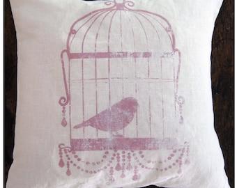 Shabby Chic Pillow. Farmhouse Pillow Cover. Birdcage Art. Linen Pillow.
