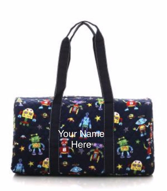 Duffle Bag Robot Print Quilted with Personalized Embroidery