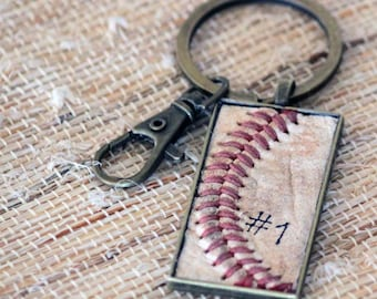 Real Baseball Seam Keychain + personalized player number • Leather • baseball mom • sports mom gift • baseball dad gift • coach gift • team