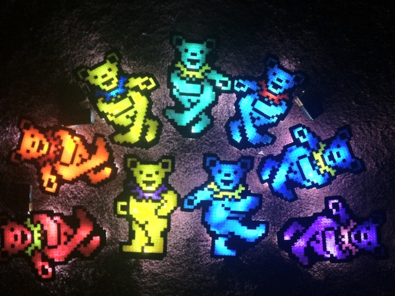 Led Kandi Bear Necklace Shirt Light Glow Grateful Dancing