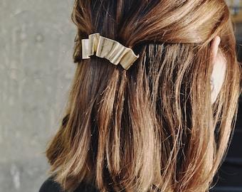 Gold French Barrette, Gold Hair Clip, Elegant Hair Accessories, Bridal Hair Accessories, Simple Gold Barrette, Hair Clip    Banner Barrette