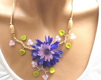 Pink artificial flower tops and cornflower blue Opal Necklace