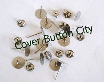 Nickel Free 100 Titanium 10mm Earring Posts and Backs - 11.5mm Long