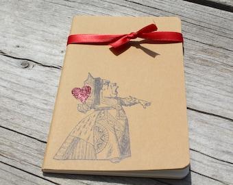 Mini Alice In Wonderland Red Glitter Queen Of Hearts  Journal