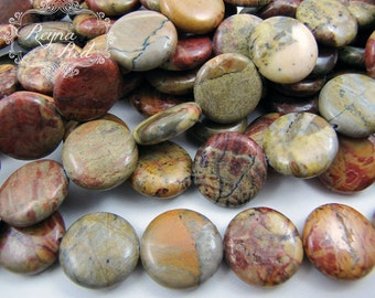 Red Creek Jasper Flat Round Coin Beads, multicolor gemstone beads, jasper beads, natural gemstones, coin beads - reynaredsupplies