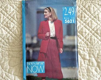Jacket Top Skirt, L XL XXL, Butterick 5621 Pattern, Unlined, Shawl Collar, Pullover, Back Zipper, A-Line, 1991 Uncut, Size 16 18 20 22 24