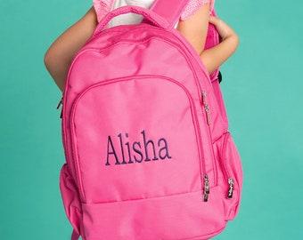 Hot Pink Girls Monogrammed Backpack, Monogram Book Bag, Personalized Girls Backpacks, Monogram Backpack, Back to School