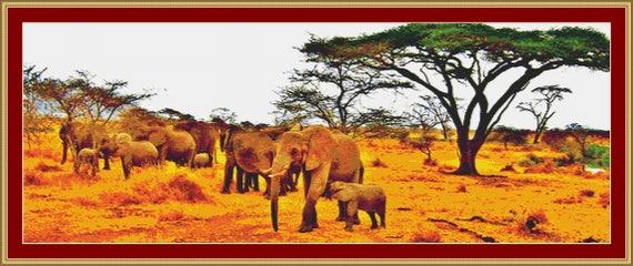 Herd Of Elephants Cross Stitch Pattern /Digital PDF Files /Instant downloadable