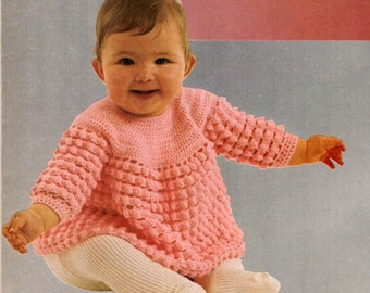 Yoked Baby Top Pattern PDF / Crocheted Baby Sweater Pattern / Vintage baby top pattern