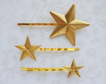 Golden Brass Star Hair Pins, Set of 3, Graduated Sizes, Independence Day, Holiday Party Hair, Bobby Pins, Astronomy, USA, Patriotic July 4th