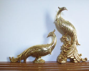 Mid-Century Gold Peacock Figurines, Statues, Syroco Pheasants, Peacock Sculptures, Hollywood Regency Decor