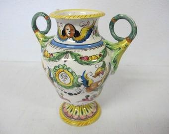 Italian Pottery Vase Florentine Pottery Vase Majolica Pottery Tuscan