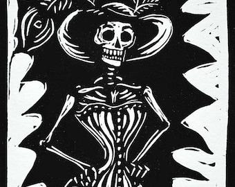 victorian skeleton in corset linocut print
