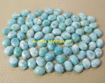 5 Pieces - Natural Larimar Smooth Oval Shape Cabochons - 9x7 MM Size - Larimar Cabochons - High Quality - Wholesalegems
