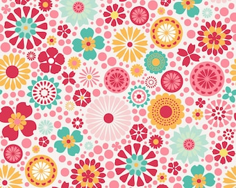 "SO HAPPY TOGETHER ~ Main Flowers Pink ~ 100% Cotton Fabric ~ 1/2 Yard Cut ~ 18"" x 44"" ~ Riley Blake Fabrics by Deena Rutter ~ c3230 Pink"
