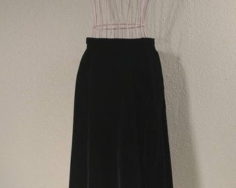 1950's black velvet skirt, metal side zip, gale and gale, swing skirt