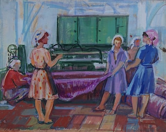 Soviet seamstress,sewing workshop,Soviet youth,Socialist Realism,collective farm,original painting,Usikova E. Sketch of 25-32 kg. 70e 0.15