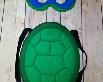 Blue Turtle Mask and shell Pretend Play Dress Up Halloween costume
