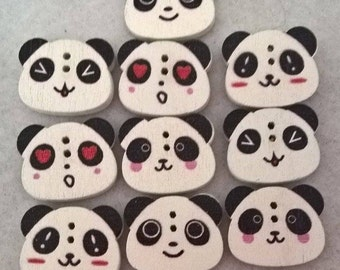 Pack Of 20 Mixed Head Panda Buttons