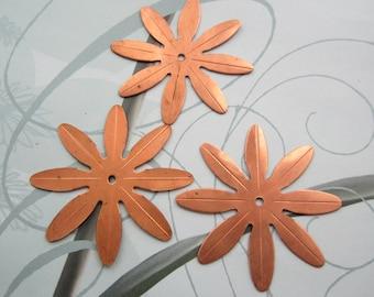 Vintage 8 Petal Copper Coated Steel Flowers 50mm
