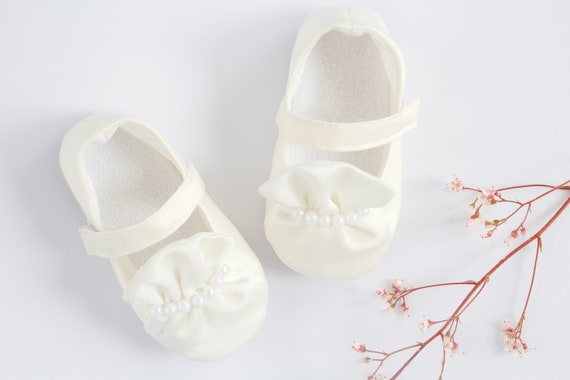 Ivory Silk  Christening/ Baptism shoes, with ruffle and beading deatails