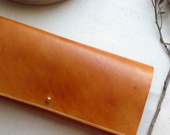 Tan Leather interlocking clutch bag.  Leather bag, Leather purse.  Handmade in the UK
