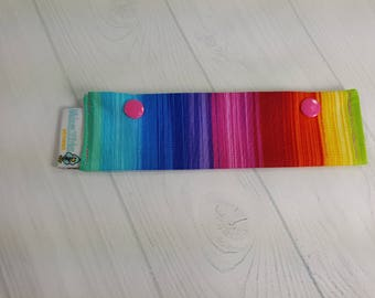 "Short Needle Cozy DPN Holder, Prism Rainbow Stripes project holder 7""x2""- (Hold up to 6"" Needles) NCS0046"