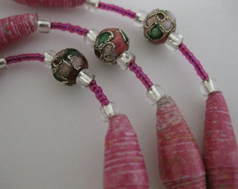 Pretty, Prettier, Prettiest in Pink Paper Bead & Cloisonne Necklace w/Hand-Rolled High Gloss Paper Beads, Fancy Pink Floral Cloisonne Beads