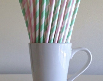 Mint Green and Pink Paper Straws Mint and Pale Pink Striped Party Supplies Party Decor Bar Cart Cake Pop Sticks Graduation