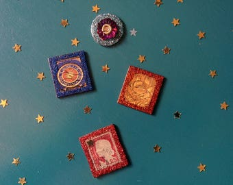 4 Magnets with Sparkling Glitter for your fridge ! Handmade and original