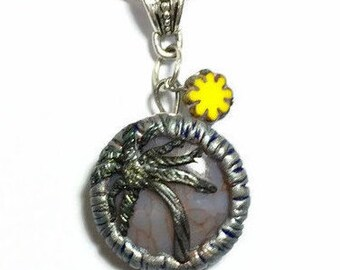 Palm tree necklace, beach necklace, Palm Tree Pendant, gemstone necklace, yellow necklace, beach jewelry, boho ocean