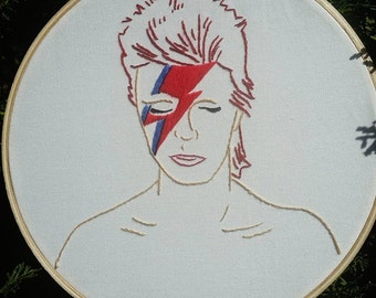 Aladdin Sane/David Bowie embroidery hoop art