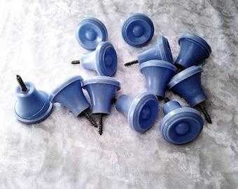 Twelve 1950s Powder Blue Plastic Drawer Knobs - FREE Postage