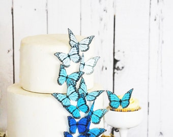 Wedding Cake Topper Edible Ombre Monarch Butterflies - Wedding Cake Topper -  Edible Decorations for Cakes and Cupcakes - Large Blue Shown