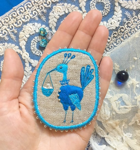 Embroidered Brooch Magic Blue Bird - hand embroidered statement jewelry.  Textile Pin, brooch, patch. Unique gift.