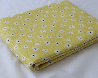 Yellow Fabric BLUEBIRD PARK 3 yds calico sunshine Moda quilting farmhouse shabby sewing quilting Kate & Birdie blender 3 full yards 13106-16