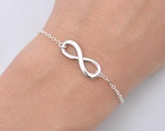 Set of 3 Infinity Bracelets, Infinity Charm Bracelets, Set of 3 Bridesmaid Bracelets, Silver Infinity Bracelets, Bridesmaid Gifts 0196