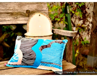 "Cushion for inside and outside, filled cushion, canvas, 38x26 cm, 15 ""x10"","