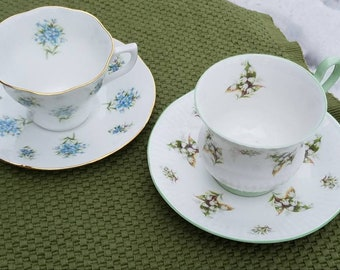 PAIR Mismatched Shabby Chic English Vintage Teacups with Saucers **Forget-me-nots/Lily-of-the-valley**