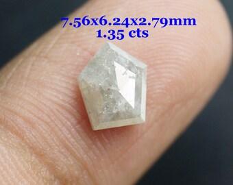 ON SALE 55% 1.35 CTW Fancy Shield Shape White Rose Cut Diamond Loose Cabochon, Natural Faceted Diamond Rose Cut, Geometric Rose cut Diamond