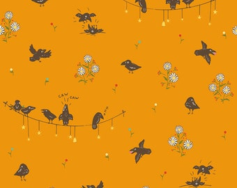 Crowded Crows in Orange from Calico Crow by Lauren Nash for Penny Rose Fabrics