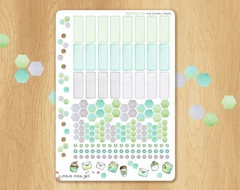 Functionnal Stickers For Inkwell Press A5 Planner Inserts (Green for February, June, October): Hexagons and Eventboxs